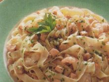 makaron żytni z krewetkami z soczewica