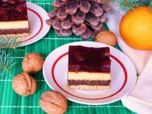 Makowo-serowe ciasto z wiśniową galaretką