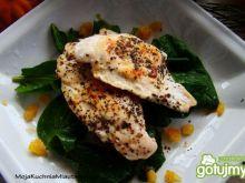 Marynowany kurczak na szpinaku