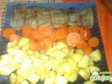 Miruna z pieczonymi warzywami
