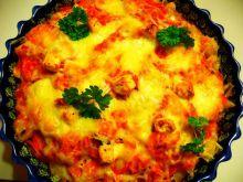 Muszelki w sosie paprykowym zapieczone z serami