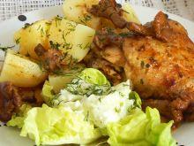 Nóżki z kurczaka duszone z kurkami