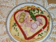 Omlecik owsiany z serem, szynką i warzyw
