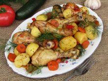 Pałki z kurczaka pieczone z warzywami