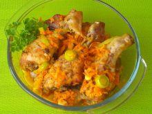 Pałki z kurczaka zapiekane z marchewką i porem