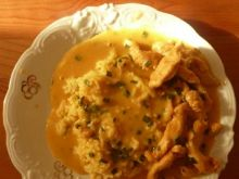 Paski z kurczaka z ryżem curry