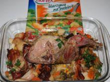 Pieczony bażant z warzywami