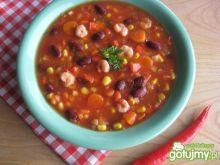 Pikantna zupa meksykańska z krewetkami