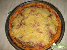 Pizza z szynką i pieczarkami.