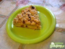 Placek z jabłkami,kruszonką i rodzynkami