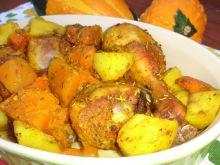 Podudzia pieczone z dynią i ziemniakami