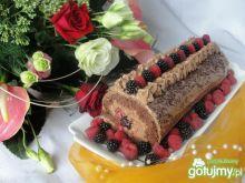 Podwójnie czekoladowa rolada z malinami