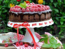 Podwójnie  czekoladowy sernik z malinami