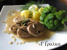 Polędwiczki wieprzowe w sosie pieczarkow