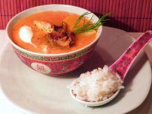 Pomidorówka dyniowa z grzybami i ryżem