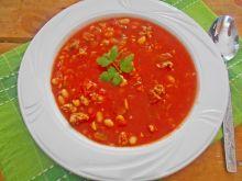 Pomidorówka z passaty z szynką i pieczarkami