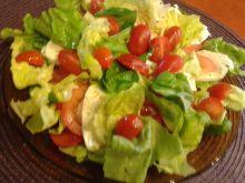 Pomidory z mozzarellą, listkami sałaty i bazylii