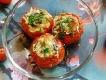 Pomidory zapiekane z wędliną, pieczarkami i ryżem