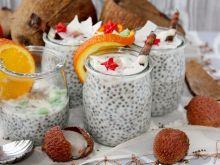 Pudding kokosowy z chia, liczi i nutą pomarańczy