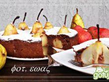 Pyszne czekoladowe ciasto z gruszkami