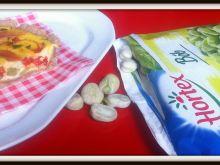 Quiche pełnoziarniste z bobem, papryką i szynką
