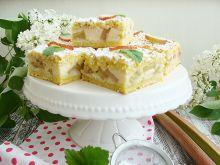 Rabarbarowe ciasto z biszkoptowym budyniem