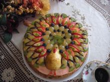 Rajski ptak - tort imieninowy z owocami