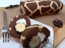 """Rolada """"żyrafa"""" z bananem w czekoladzie"""