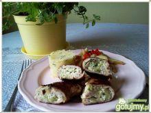 Roladki schabowe z fetą i ogórkiem ziel.