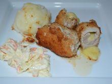Roladki schabowe z serem i masłem czosnkowym