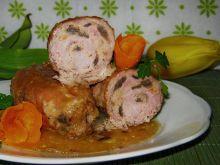 Roladki szynkowe z mięsno pieczarkowym farszem