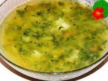 Rosół drobiowy ze szpinakiem i ryżem