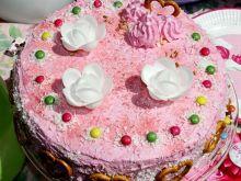 Różowy tort z malinową nutą dla dziewczynki