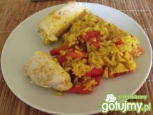 Ruloniki z kurczaka z żółtym ryżem
