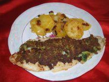 Ryba w panierce z brokulow z ziemniakami