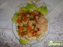 Ryba z kopytkami w sosie słodko-kwaśnym