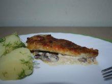 Ryba zapiekana z pieczarkami i serem