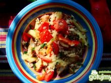 Ryż dziki warzywami i sandaczem