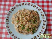 Ryż z mięsem i sosem z pieczarkami