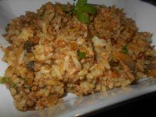 Ryż z pieczarkami i tuńczykiem