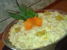 Sałatka z kukurydzą, porem i kurczakiem
