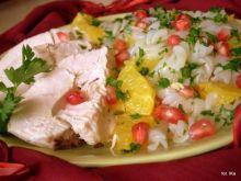 Sałatka z makaronu ryżowego z kurczakiem