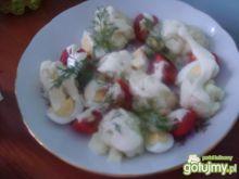 Sałatka z pomidora. kalafiora i jajek