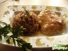 Schab w sosie z kaszą gryczaną