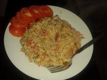 Schab z kiełkami białą fasolą i ryżem