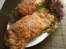 Schab z szynką i serem (w sezamie:)