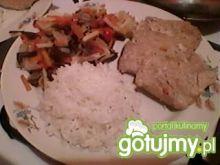 Schab z warzywami gotowany na parze