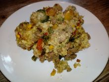 Schab z warzywami i kaszą jaglaną