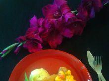 Schabowy z salsą mango na puree miętowo-cytrynowym