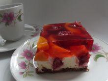 Sernik na zimno truskawkowo - brzoskwiniowy